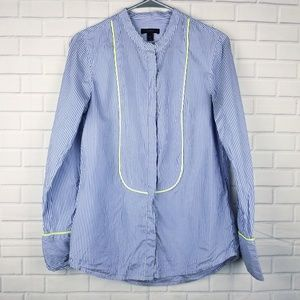 J.Crew Silk Button Striped Shirt Size 4